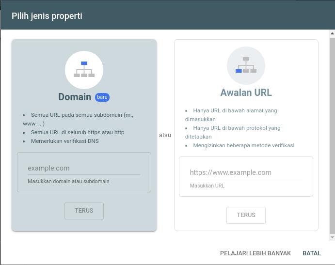 Menambahkan dan Verifikasi Domain ke Google Search Console