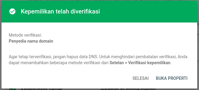Verifikasi Kepemilikan Domain di Google Search Console