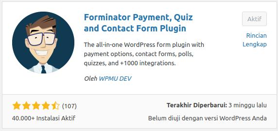 Pasang dan Aktifkan Plugin Forminator